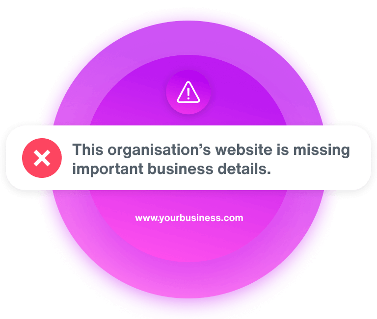 A purple circle with error modal overlaying saying 'This organisation's website is missing important business details'.
