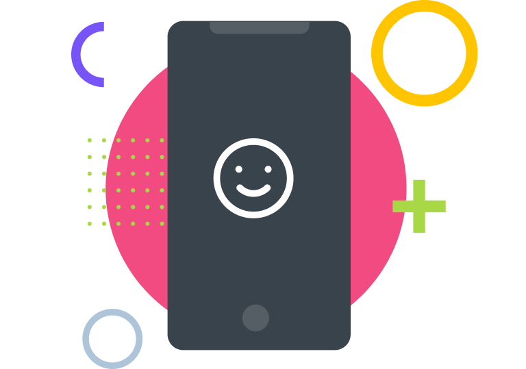 Image of a mobile with a happy face