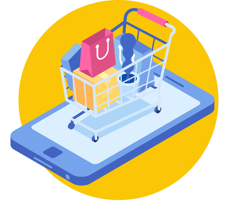 A shopping trolley placed on a mobile screen