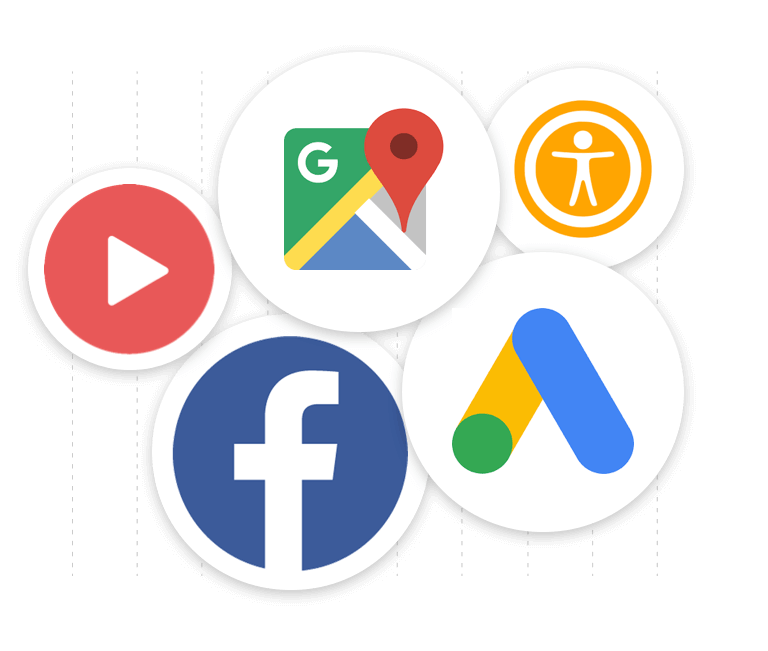 Circle showing logos of Facebook, video icon, accessibility and Google maps