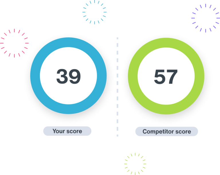 Two scores, your score with the number 39 and competitor score of 57
