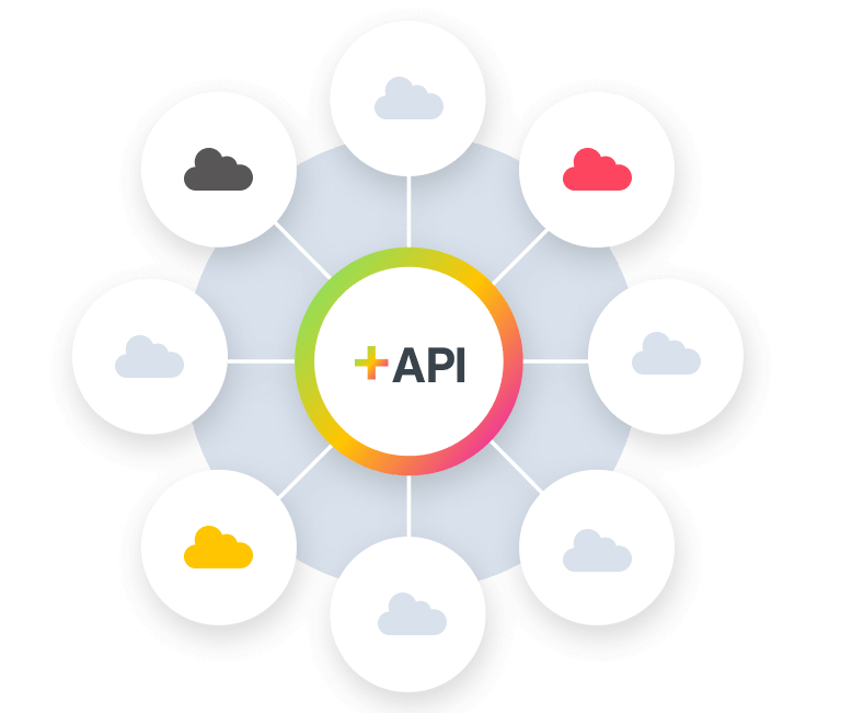Clouds connected to a central API logo
