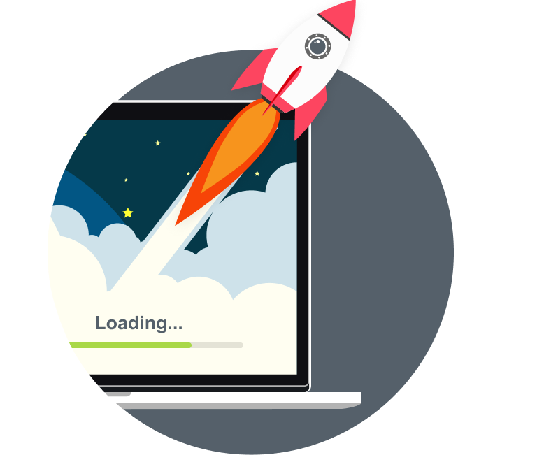 A rocket launching from a laptop