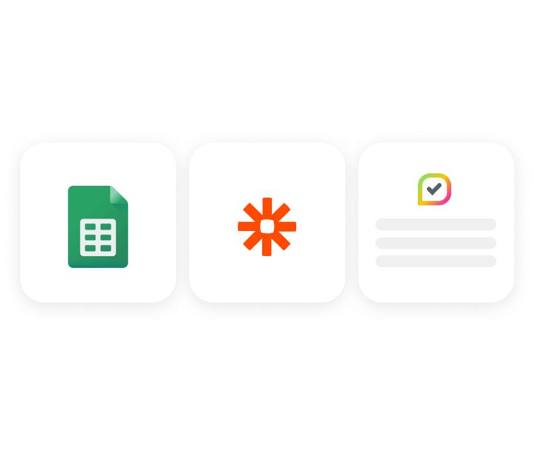 3 boxes with an Excel spreadsheet, a Zapier logo and an insites logo