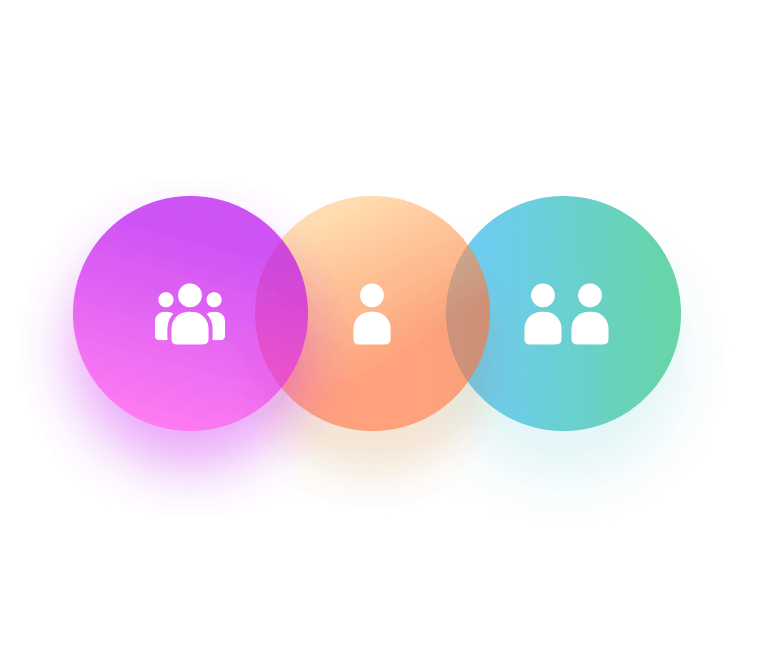 Circles with the Hubspot logo and user icons