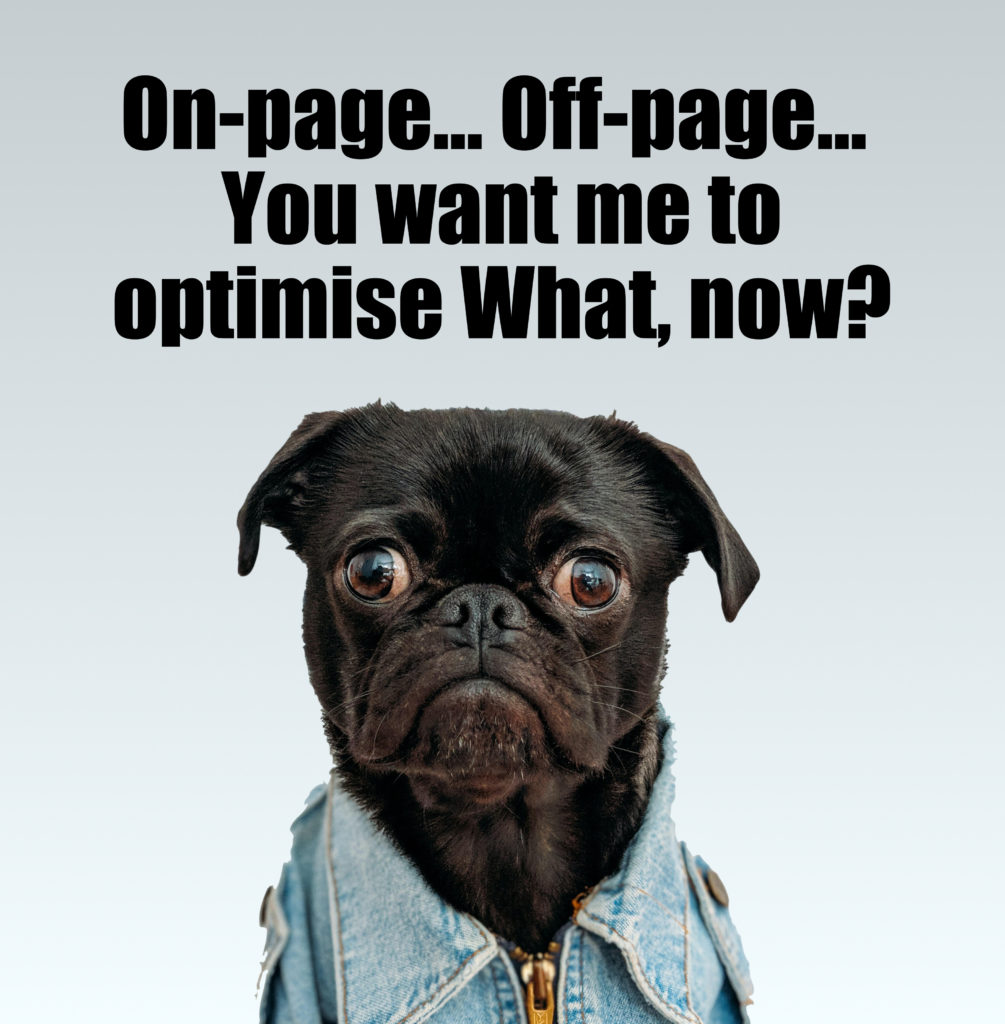 On-page... Off-page… You want me to optimise What, now?